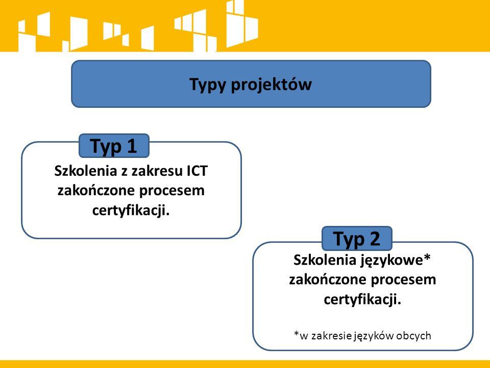 Typy projektów Szkolenia językowe* zakończone procesem certyfikacji. *w zakresie języków obcych Szkolenia z zakresu ICT zakończone procesem certyfikac