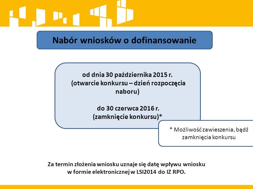 Nabór wniosków o dofinansowanie od dnia 30 października 2015 r. (otwarcie konkursu – dzień rozpoczęcia naboru) do 30 czerwca 2016 r. (zamknięcie konku