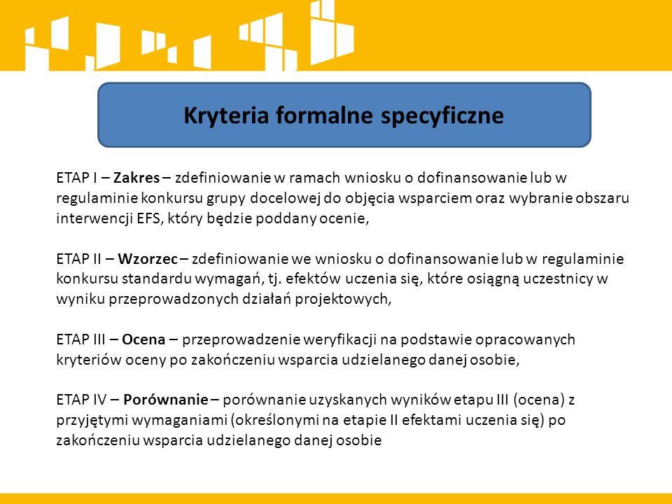Kryteria formalne specyficzne ETAP I – Zakres – zdefiniowanie w ramach wniosku o dofinansowanie lub w regulaminie konkursu grupy docelowej do objęcia