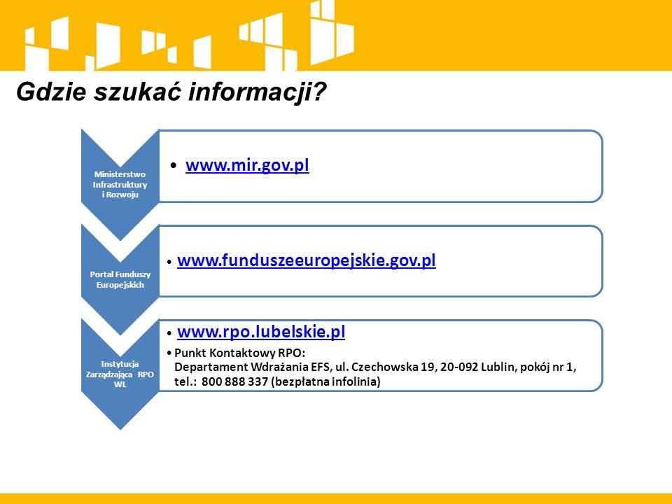 Gdzie szukać informacji? Ministerstwo Infrastruktury i Rozwoju www.mir.gov.pl Portal Funduszy Europejskich www.funduszeeuropejskie.gov.pl Instytucja Z