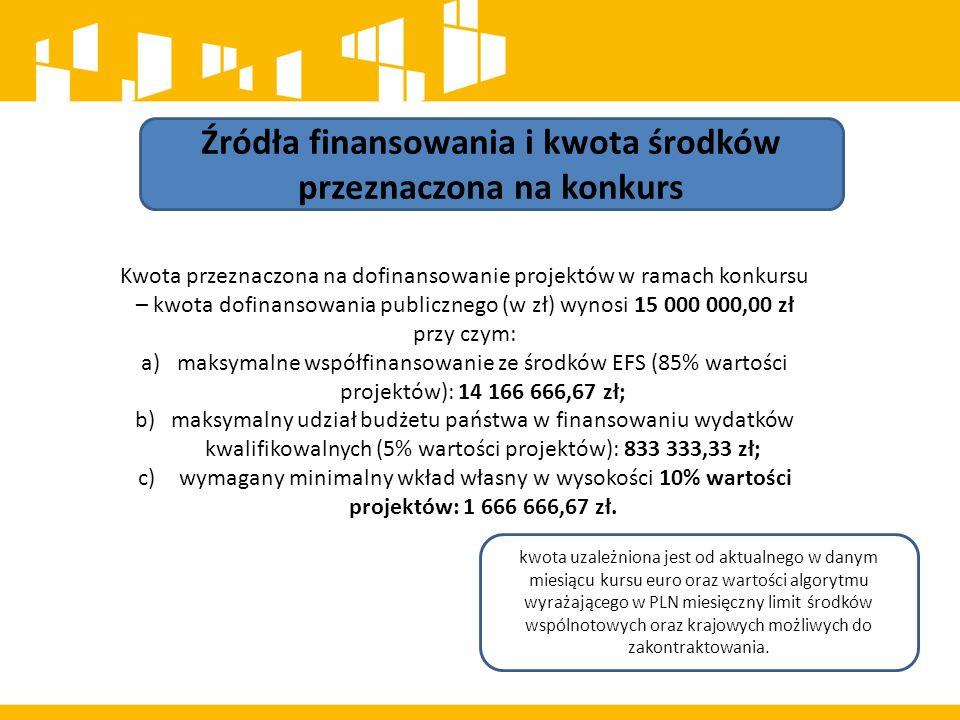 Źródła finansowania i kwota środków przeznaczona na konkurs Maksymalny poziom dofinansowania UE wydatków kwalifikowalnych na poziomie projektu wynosi 85%.