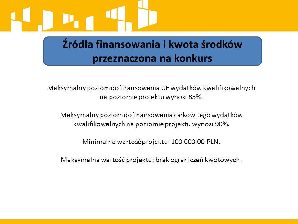 Źródła finansowania i kwota środków przeznaczona na konkurs Maksymalny poziom dofinansowania UE wydatków kwalifikowalnych na poziomie projektu wynosi