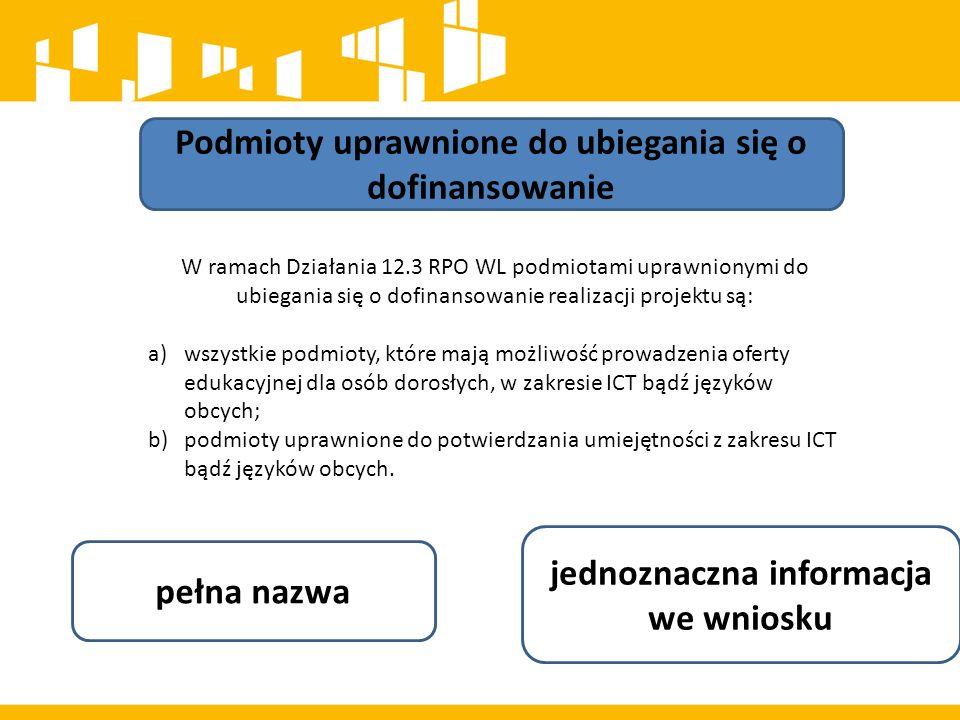 Podmioty uprawnione do ubiegania się o dofinansowanie W ramach Działania 12.3 RPO WL podmiotami uprawnionymi do ubiegania się o dofinansowanie realiza