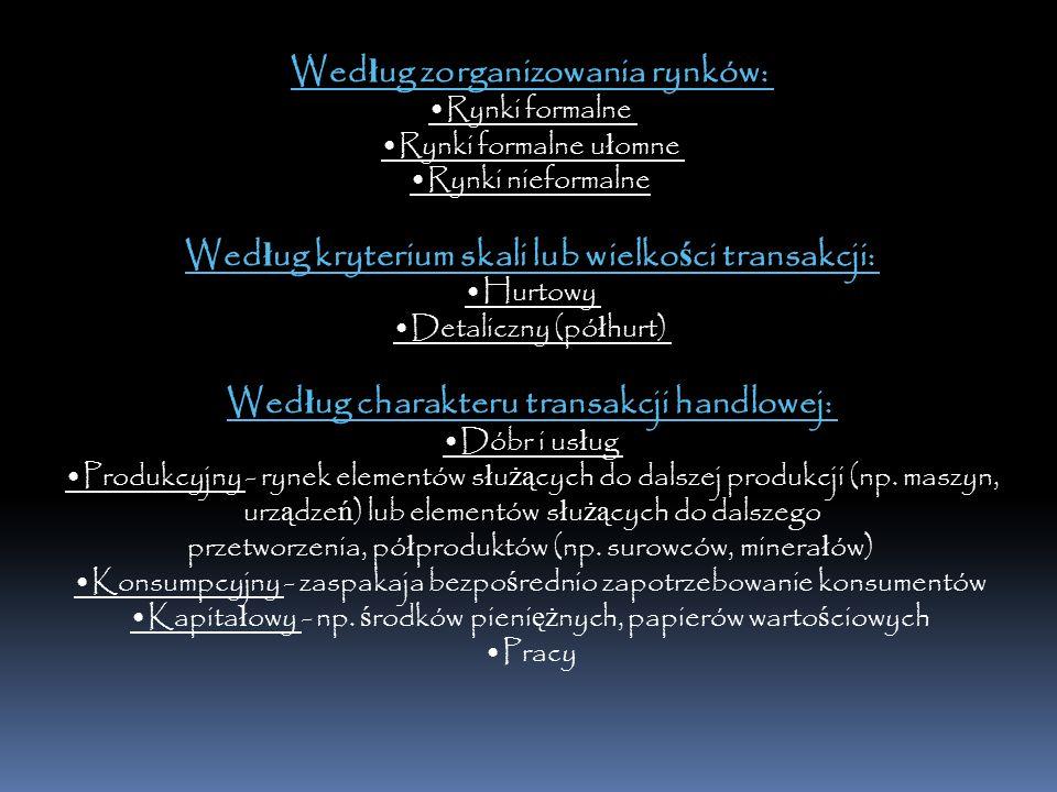 Wed ł ug zorganizowania rynków: Rynki formalne Rynki formalne u ł omne Rynki nieformalne Wed ł ug kryterium skali lub wielko ś ci transakcji: Hurtowy Detaliczny (pó ł hurt) Wed ł ug charakteru transakcji handlowej: Dóbr i us ł ug Produkcyjny - rynek elementów s ł u żą cych do dalszej produkcji (np.