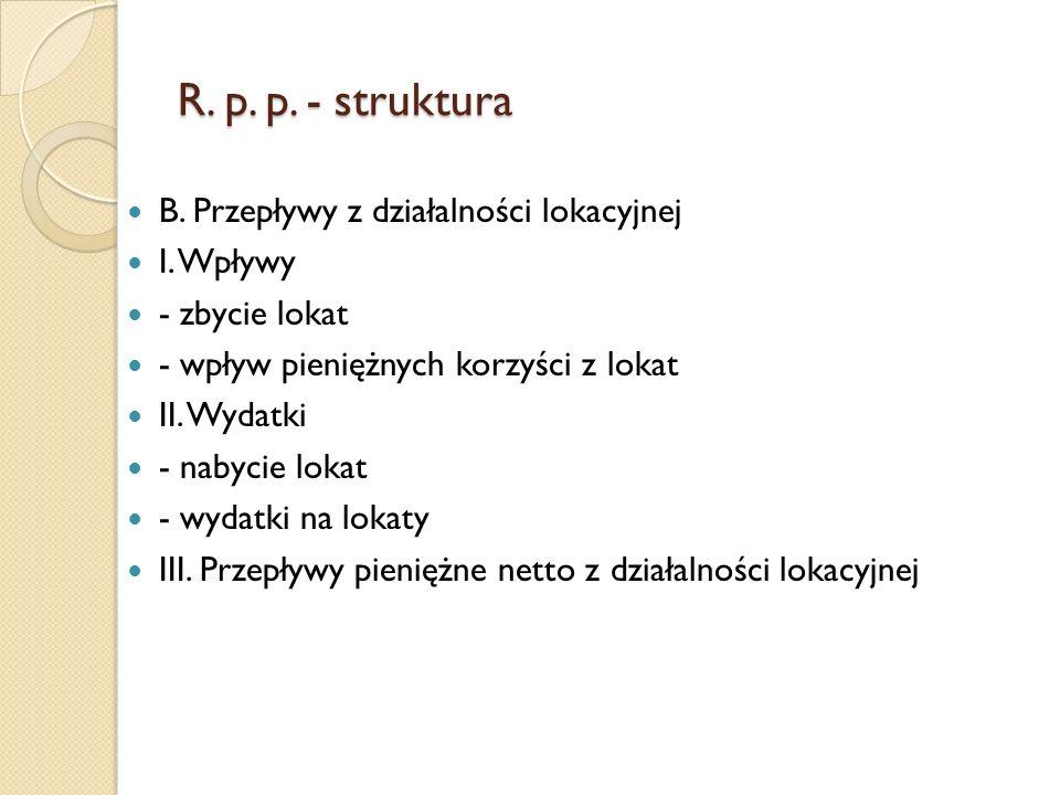 R.p. p. - struktura B. Przepływy z działalności lokacyjnej I.