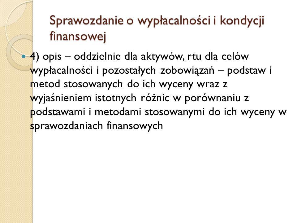 Sprawozdanie o wypłacalności i kondycji finansowej 4) opis – oddzielnie dla aktywów, rtu dla celów wypłacalności i pozostałych zobowiązań – podstaw i