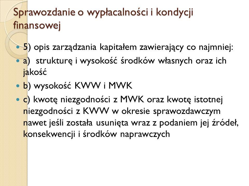 Sprawozdanie o wypłacalności i kondycji finansowej 5) opis zarządzania kapitałem zawierający co najmniej: a) strukturę i wysokość środków własnych oraz ich jakość b) wysokość KWW i MWK c) kwotę niezgodności z MWK oraz kwotę istotnej niezgodności z KWW w okresie sprawozdawczym nawet jeśli została usunięta wraz z podaniem jej źródeł, konsekwencji i środków naprawczych