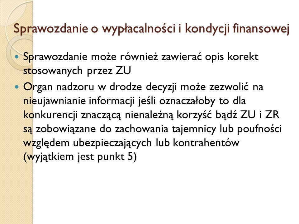 Sprawozdanie o wypłacalności i kondycji finansowej Sprawozdanie może również zawierać opis korekt stosowanych przez ZU Organ nadzoru w drodze decyzji