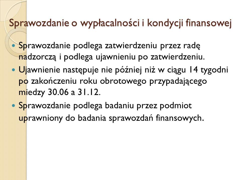 Sprawozdanie o wypłacalności i kondycji finansowej Sprawozdanie podlega zatwierdzeniu przez radę nadzorczą i podlega ujawnieniu po zatwierdzeniu. Ujaw