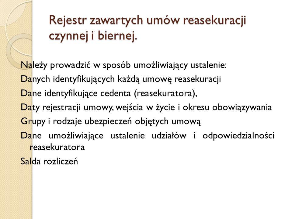 Rejestr zawartych umów reasekuracji czynnej i biernej. Należy prowadzić w sposób umożliwiający ustalenie: Danych identyfikujących każdą umowę reasekur