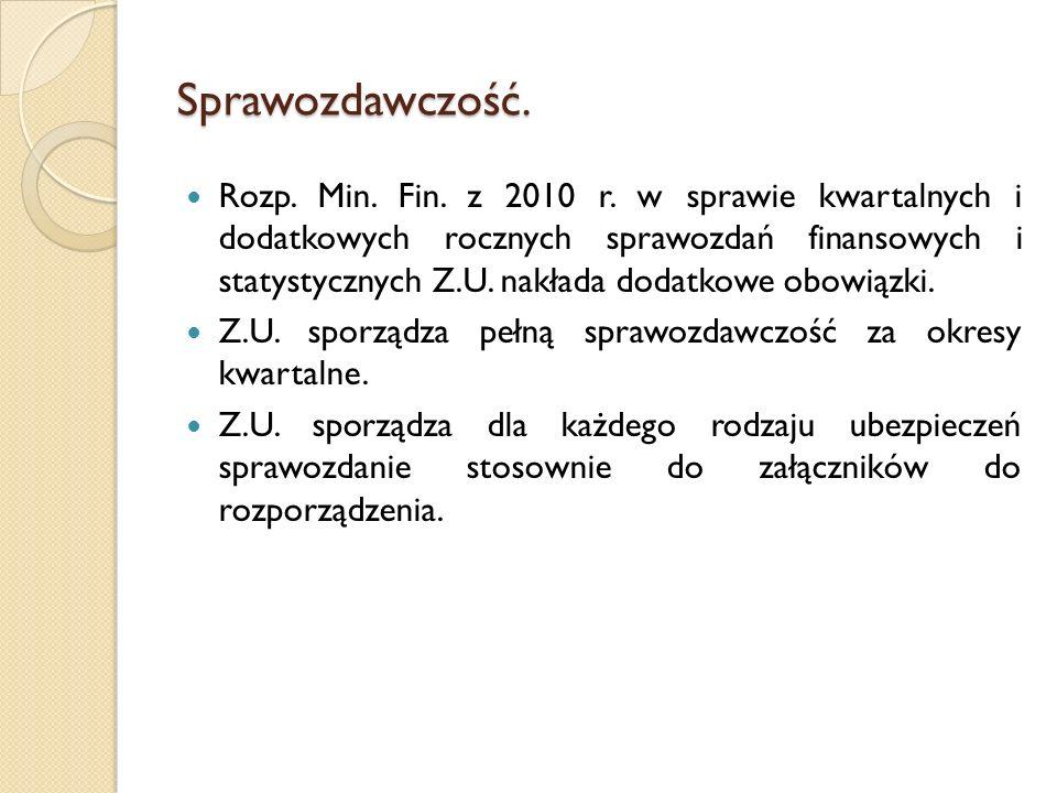 Sprawozdawczość. Rozp. Min. Fin. z 2010 r. w sprawie kwartalnych i dodatkowych rocznych sprawozdań finansowych i statystycznych Z.U. nakłada dodatkowe