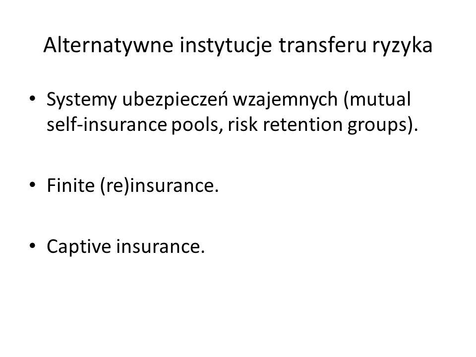 Alternatywne instytucje transferu ryzyka Systemy ubezpieczeń wzajemnych (mutual self-insurance pools, risk retention groups).