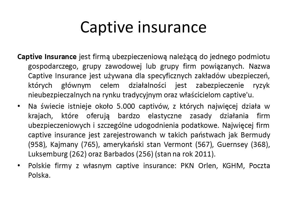 Captive insurance Captive Insurance jest firmą ubezpieczeniową należącą do jednego podmiotu gospodarczego, grupy zawodowej lub grupy firm powiązanych.