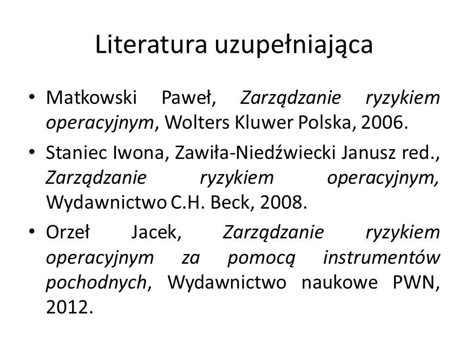Literatura uzupełniająca Matkowski Paweł, Zarządzanie ryzykiem operacyjnym, Wolters Kluwer Polska, 2006.