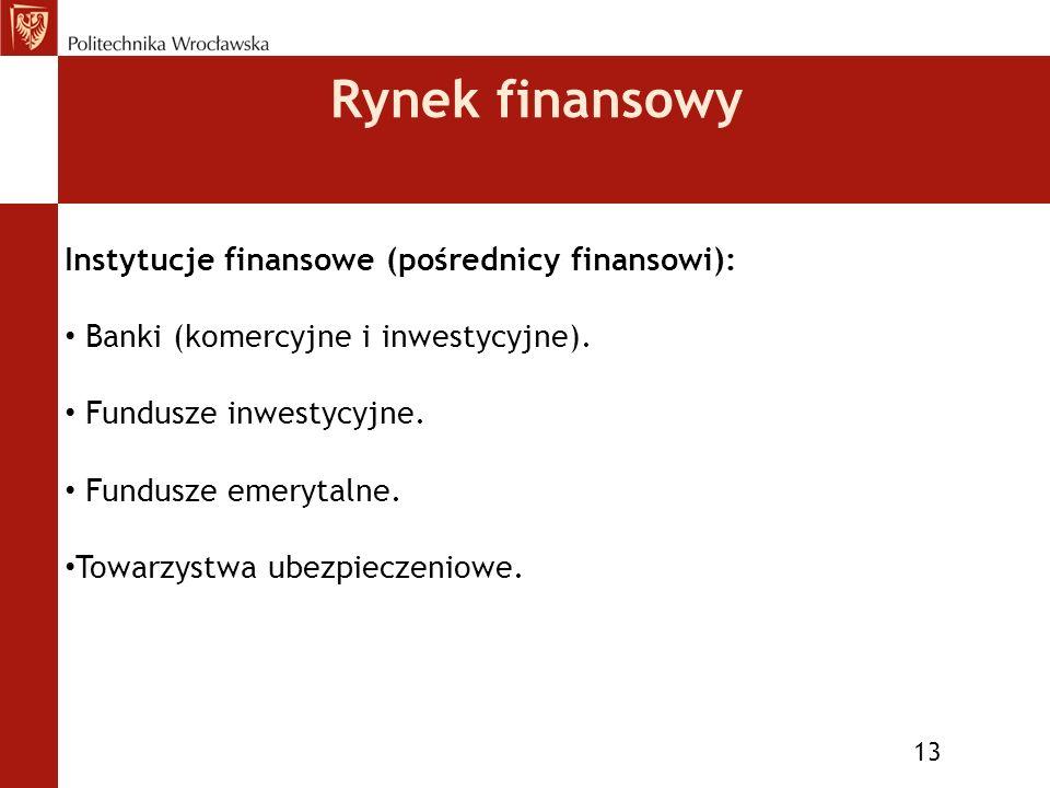 Rynek finansowy 13 Instytucje finansowe (pośrednicy finansowi): Banki (komercyjne i inwestycyjne).