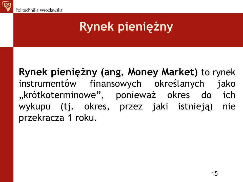 Rynek pieniężny 15 Rynek pieniężny (ang.