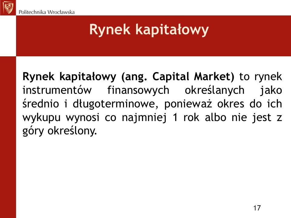Rynek kapitałowy 17 Rynek kapitałowy (ang.