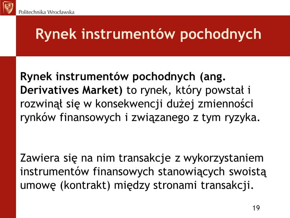 Rynek instrumentów pochodnych 19 Rynek instrumentów pochodnych (ang.