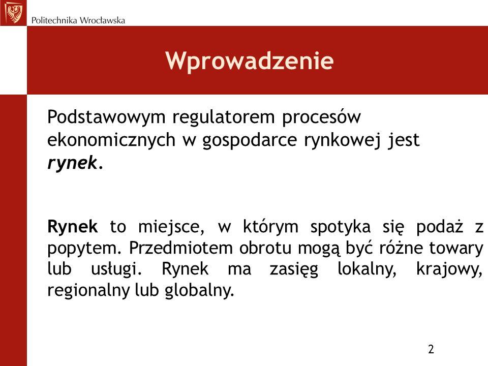Wprowadzenie 2 Podstawowym regulatorem procesów ekonomicznych w gospodarce rynkowej jest rynek.