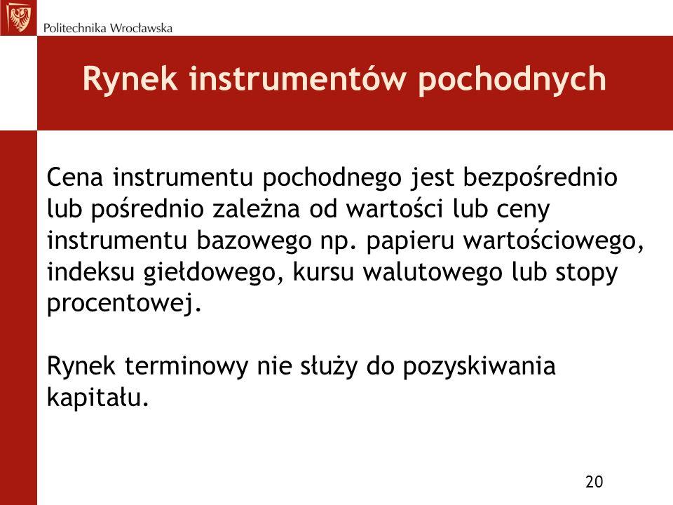 Rynek instrumentów pochodnych 20 Cena instrumentu pochodnego jest bezpośrednio lub pośrednio zależna od wartości lub ceny instrumentu bazowego np.