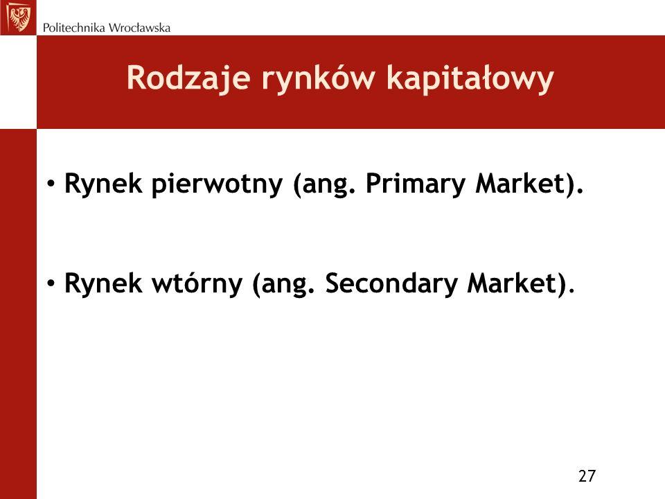 Rodzaje rynków kapitałowy 27 Rynek pierwotny (ang.