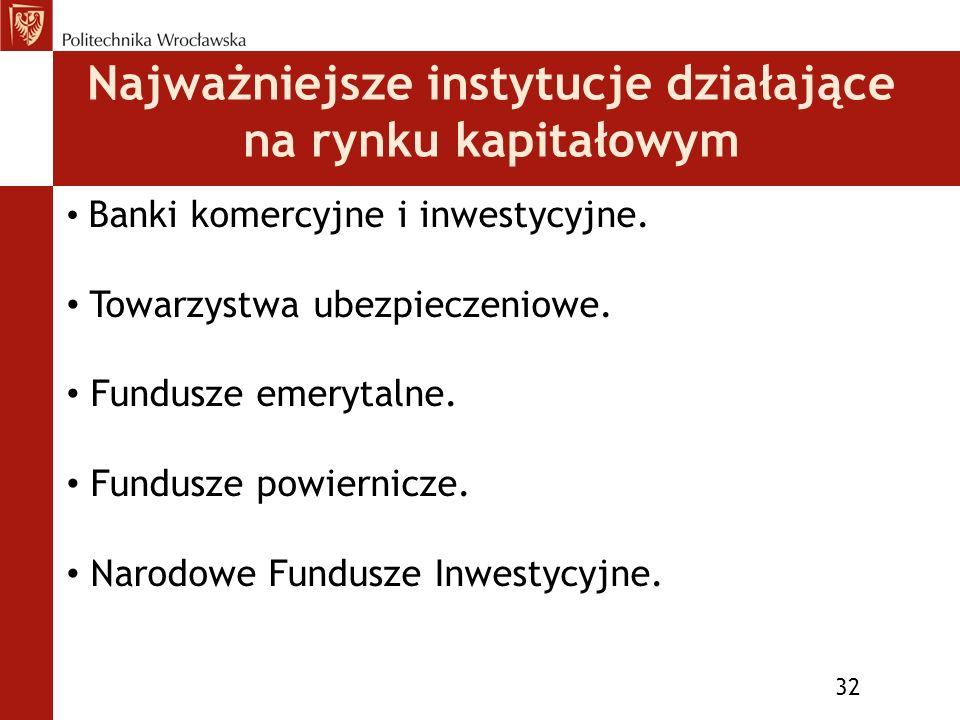 Najważniejsze instytucje działające na rynku kapitałowym 32 Banki komercyjne i inwestycyjne.