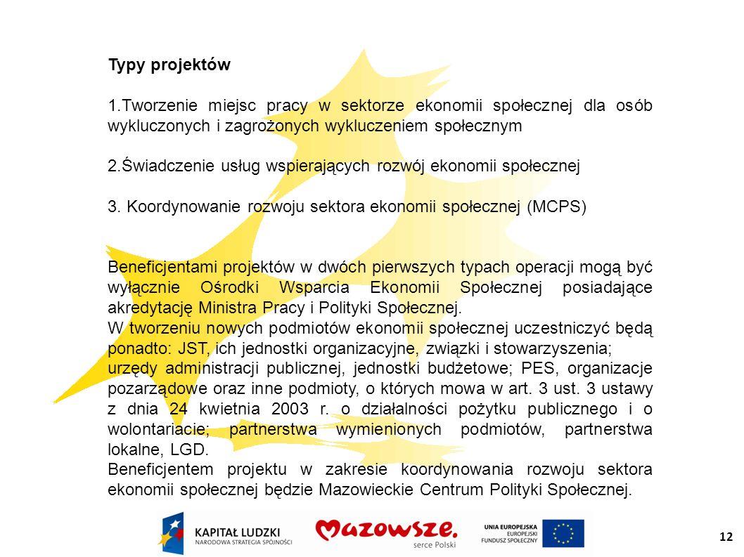 12 Typy projektów 1.Tworzenie miejsc pracy w sektorze ekonomii społecznej dla osób wykluczonych i zagrożonych wykluczeniem społecznym 2.Świadczenie usług wspierających rozwój ekonomii społecznej 3.