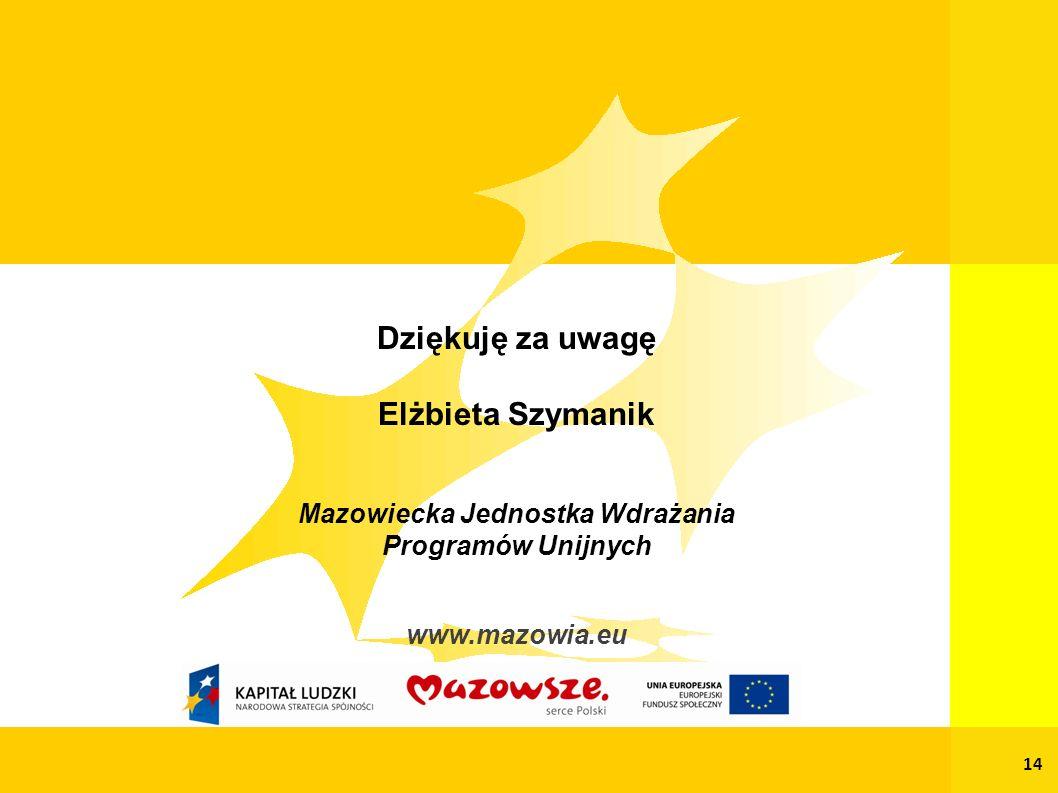 Dziękuję za uwagę Elżbieta Szymanik Mazowiecka Jednostka Wdrażania Programów Unijnych www.mazowia.eu 14