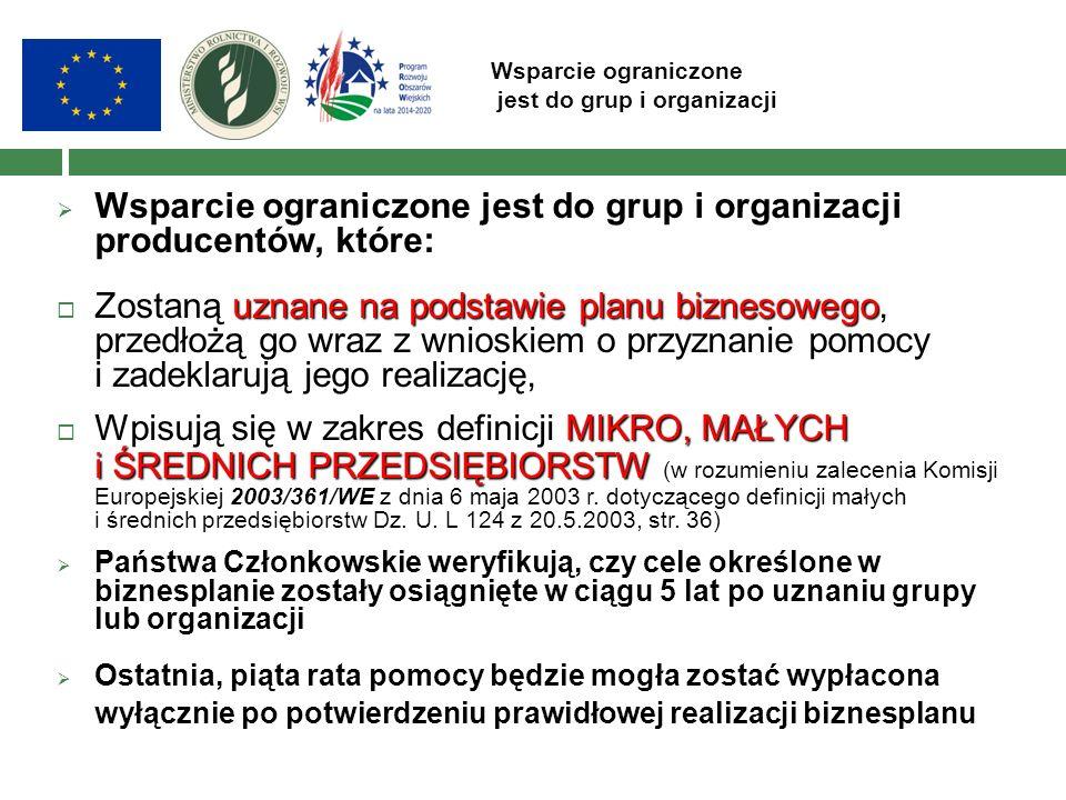 Wsparcie ograniczone jest do grup i organizacji  Wsparcie ograniczone jest do grup i organizacji producentów, które: uznane na podstawie planu biznes