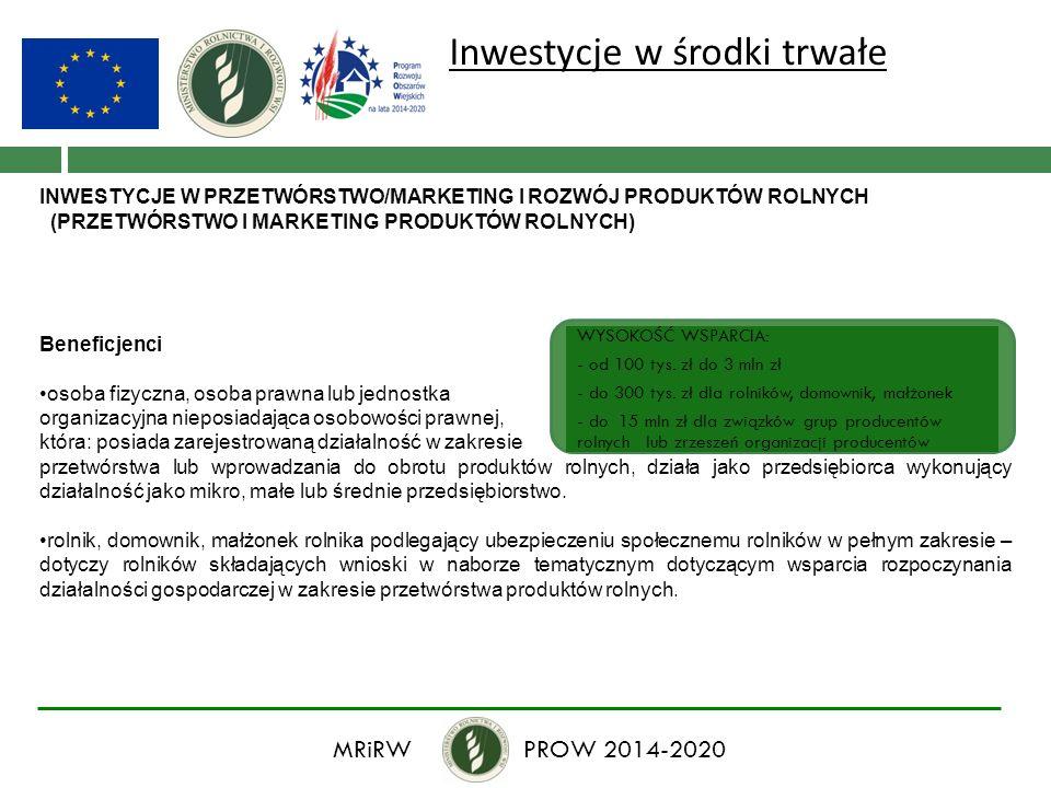 Inwestycje w środki trwałe INWESTYCJE W PRZETWÓRSTWO/MARKETING I ROZWÓJ PRODUKTÓW ROLNYCH (PRZETWÓRSTWO I MARKETING PRODUKTÓW ROLNYCH) Beneficjenci os