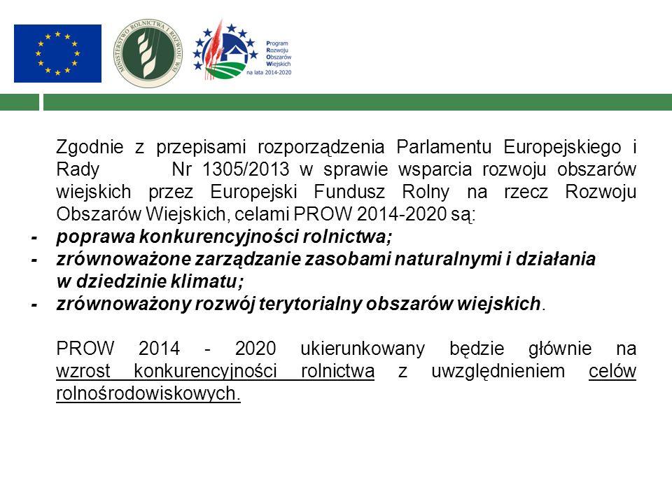 Zgodnie z przepisami rozporządzenia Parlamentu Europejskiego i Rady Nr 1305/2013 w sprawie wsparcia rozwoju obszarów wiejskich przez Europejski Fundus