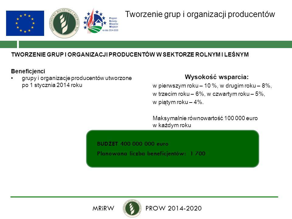 Tworzenie grup i organizacji producentów TWORZENIE GRUP I ORGANIZACJI PRODUCENTÓW W SEKTORZE ROLNYM I LEŚNYM Beneficjenci grupy i organizacje producen