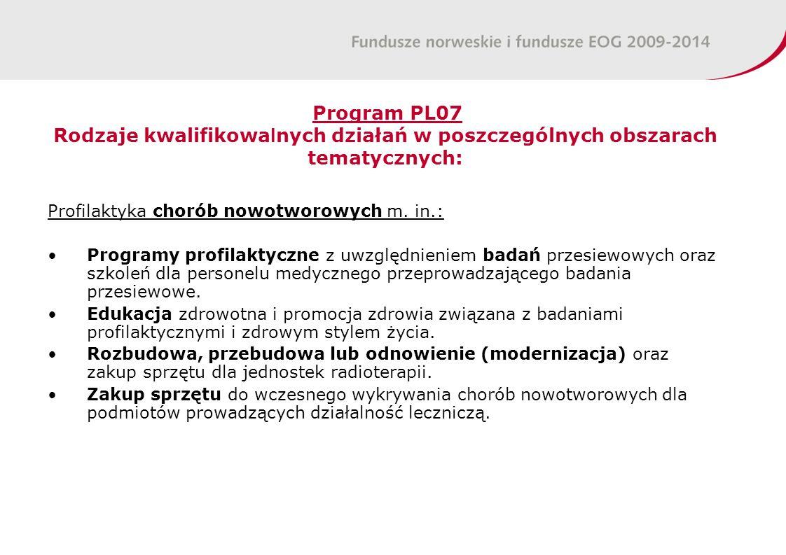 Program PL07 Rodzaje kwalifikowa l nych działań w poszczególnych obszarach tematycznych: Profilaktyka chorób nowotworowych m.