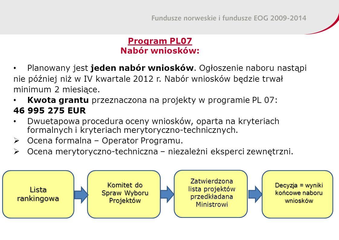 Program PL07 Nabór wniosków: Planowany jest jeden nabór wniosków.
