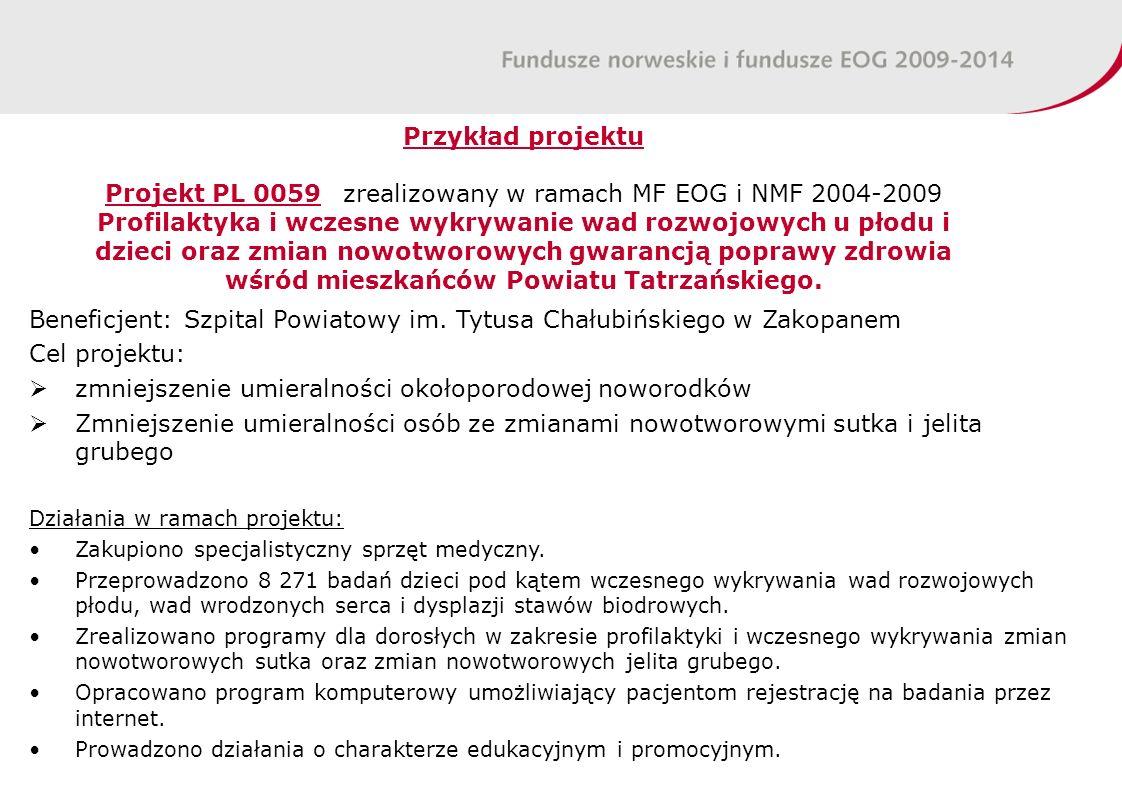 Przykład projektu Projekt PL 0059 zrealizowany w ramach MF EOG i NMF 2004-2009 Profilaktyka i wczesne wykrywanie wad rozwojowych u płodu i dzieci oraz zmian nowotworowych gwarancją poprawy zdrowia wśród mieszkańców Powiatu Tatrzańskiego.