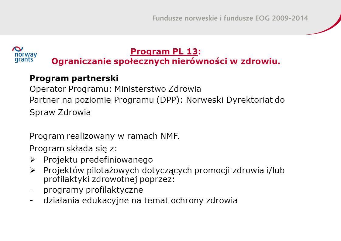 Program PL 13: Ograniczanie społecznych nierówności w zdrowiu.