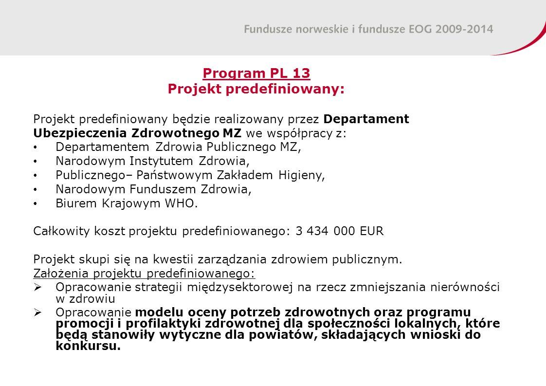 Program PL 13 Projekt predefiniowany: Projekt predefiniowany będzie realizowany przez Departament Ubezpieczenia Zdrowotnego MZ we współpracy z: Departamentem Zdrowia Publicznego MZ, Narodowym Instytutem Zdrowia, Publicznego– Państwowym Zakładem Higieny, Narodowym Funduszem Zdrowia, Biurem Krajowym WHO.
