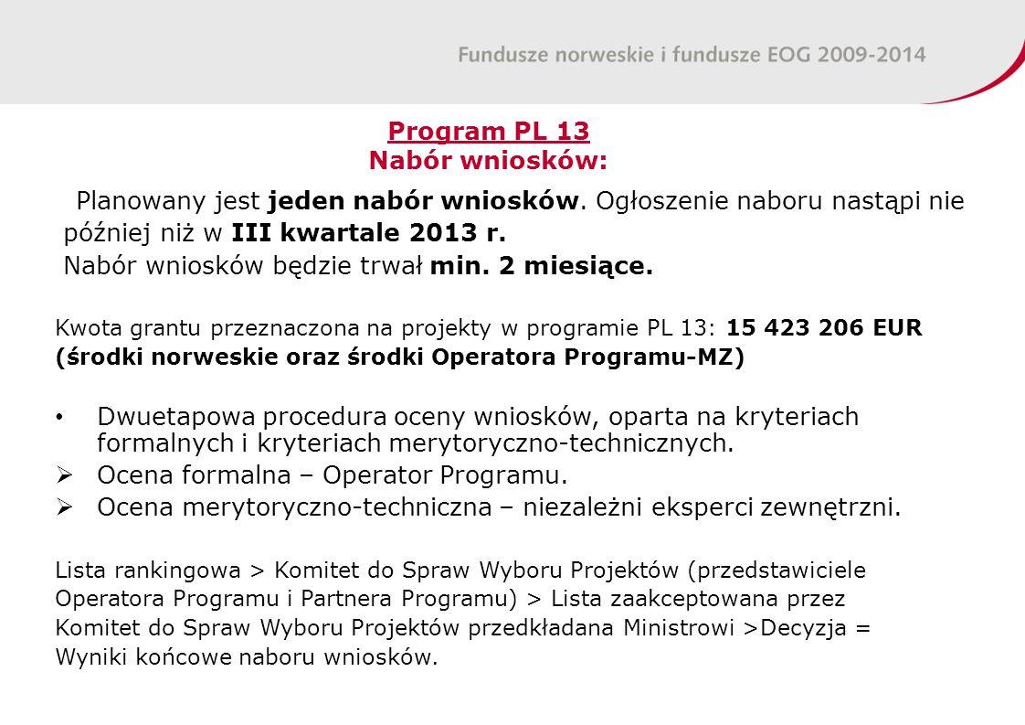 Program PL 13 Nabór wniosków: Planowany jest jeden nabór wniosków.