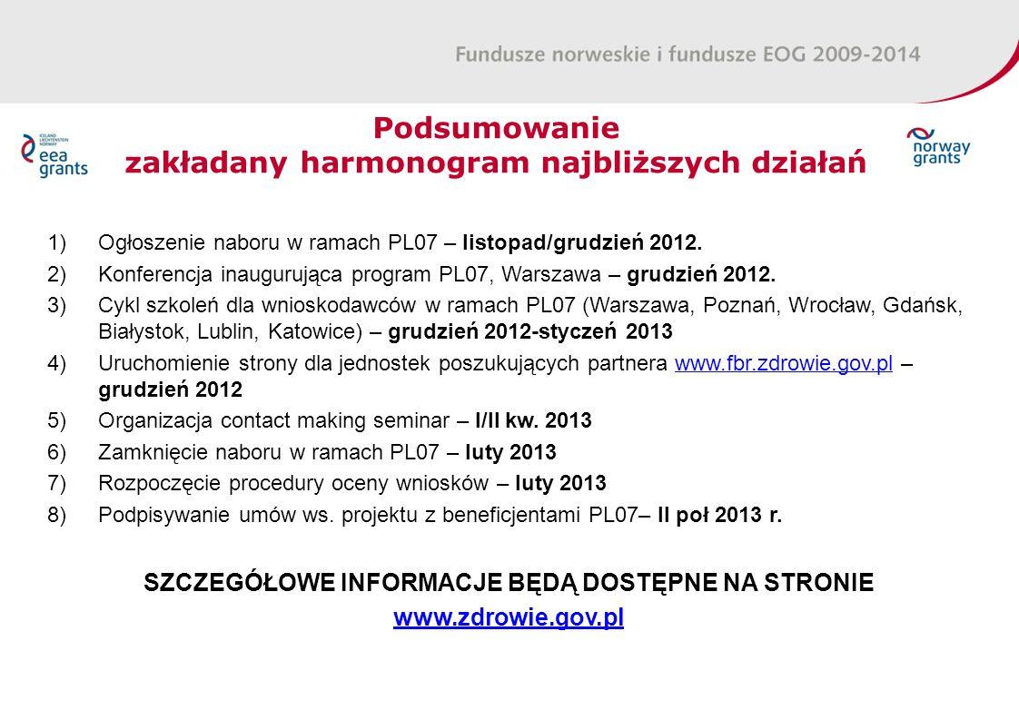Podsumowanie zakładany harmonogram najbliższych działań 1)Ogłoszenie naboru w ramach PL07 – listopad/grudzień 2012.