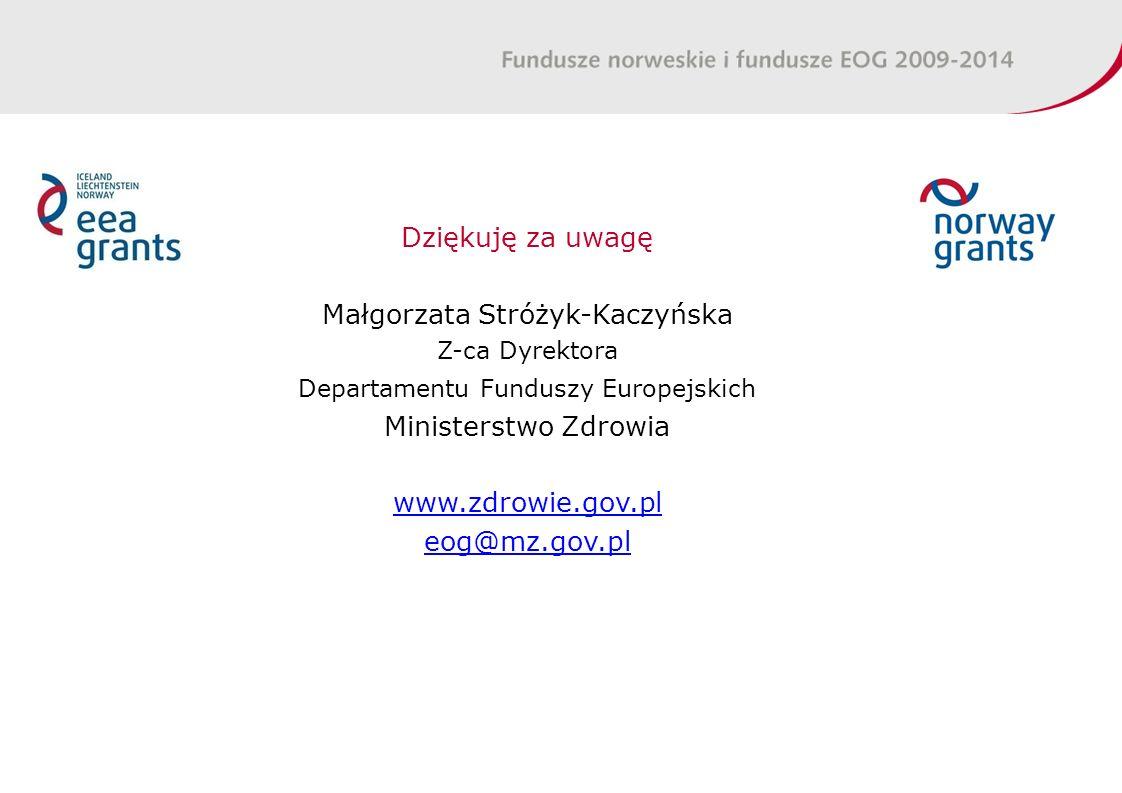 Dziękuję za uwagę Małgorzata Stróżyk-Kaczyńska Z-ca Dyrektora Departamentu Funduszy Europejskich Ministerstwo Zdrowia www.zdrowie.gov.pl eog@mz.gov.pl