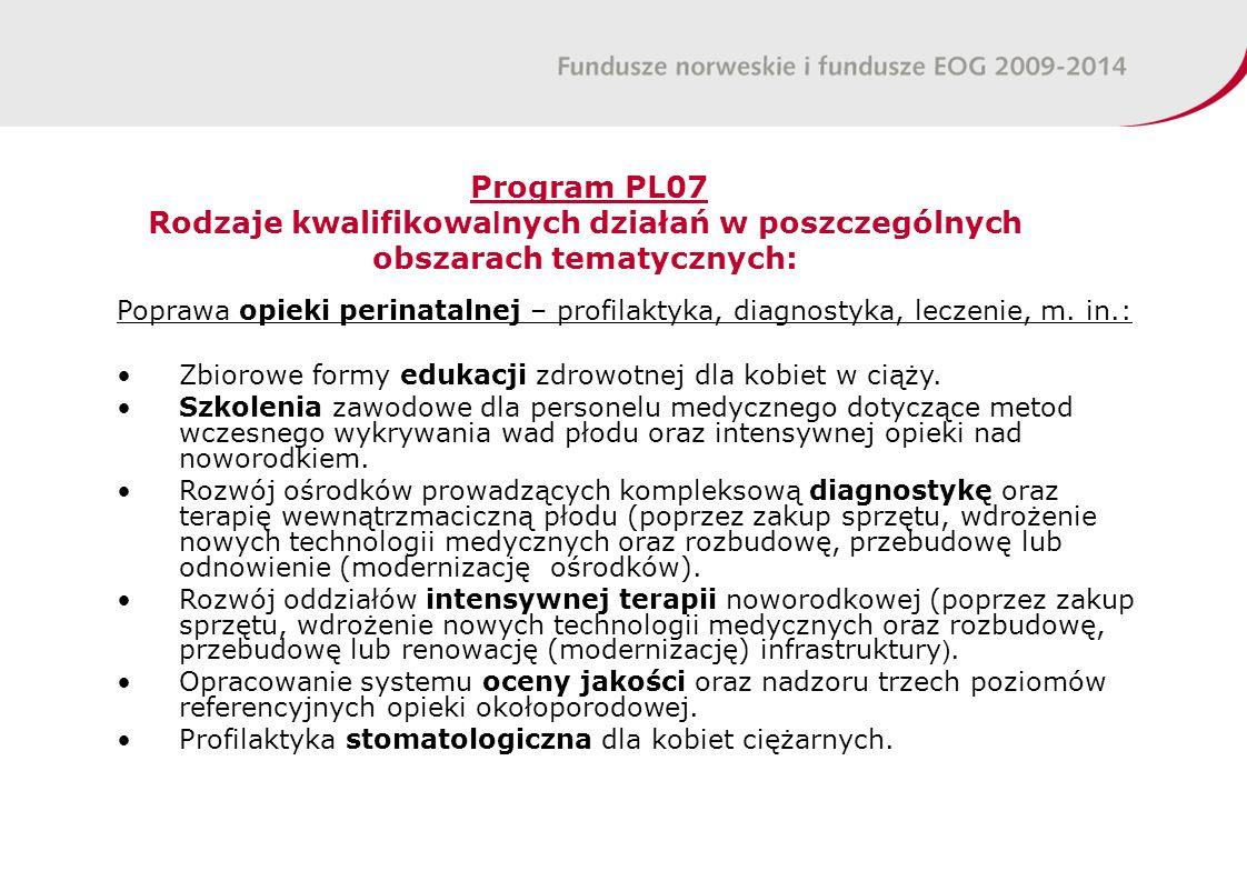 Program PL07 Rodzaje kwalifikowa l nych działań w poszczególnych obszarach tematycznych: Poprawa opieki perinatalnej – profilaktyka, diagnostyka, leczenie, m.