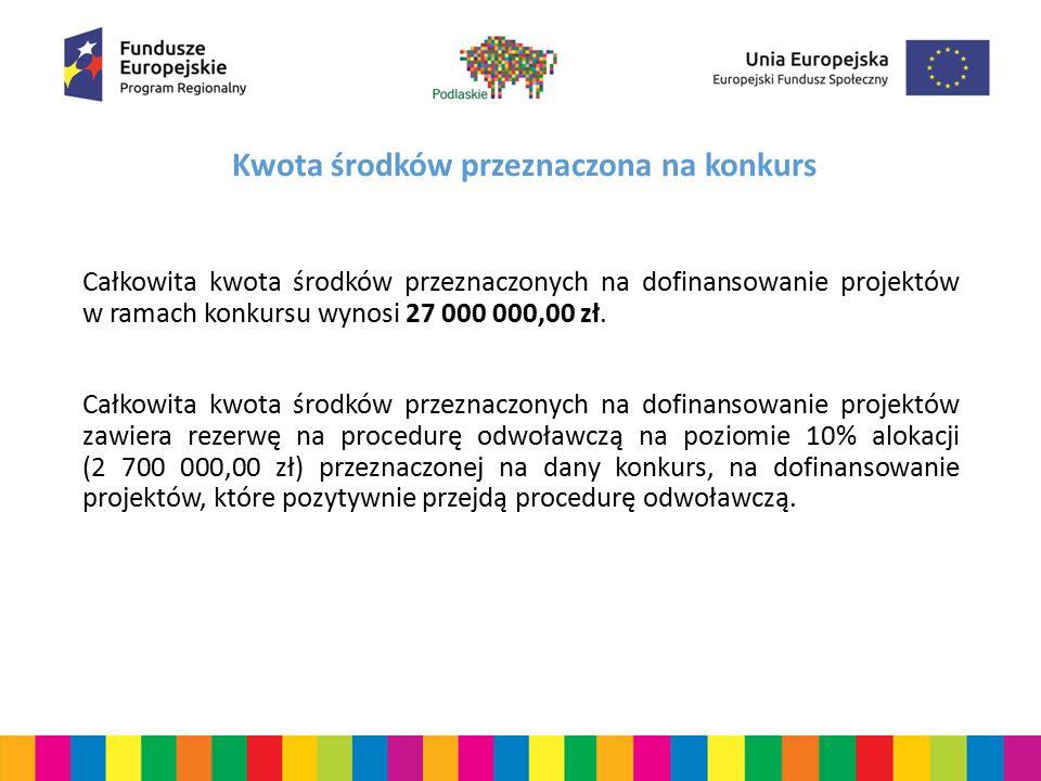 Kwota środków przeznaczona na konkurs Całkowita kwota środków przeznaczonych na dofinansowanie projektów w ramach konkursu wynosi 27 000 000,00 zł. Ca