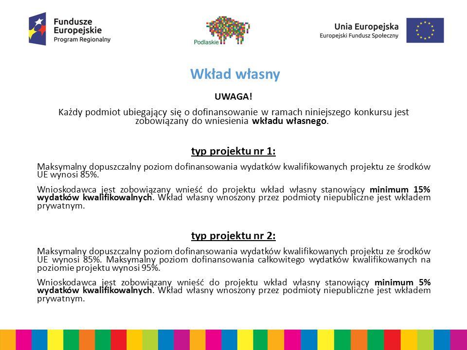 Wkład własny UWAGA! Każdy podmiot ubiegający się o dofinansowanie w ramach niniejszego konkursu jest zobowiązany do wniesienia wkładu własnego. typ pr