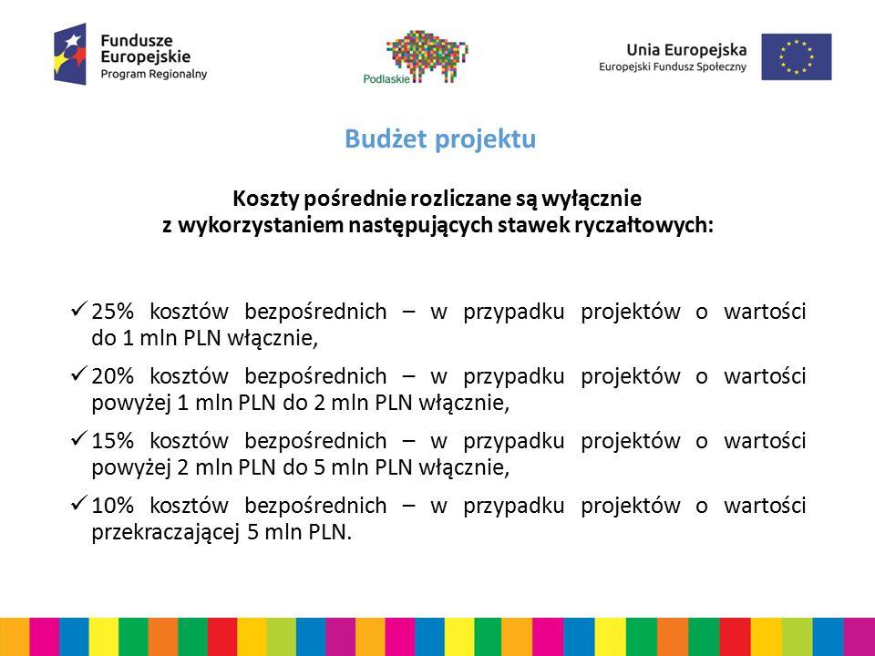 Budżet projektu Koszty pośrednie rozliczane są wyłącznie z wykorzystaniem następujących stawek ryczałtowych: 25% kosztów bezpośrednich – w przypadku p