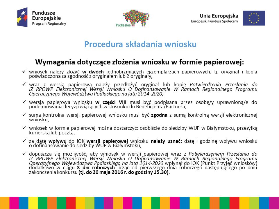 Procedura składania wniosku UWAGA.