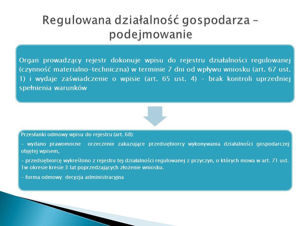 Organ prowadzący rejestr dokonuje wpisu do rejestru działalności regulowanej (czynność materialno-techniczna) w terminie 7 dni od wpływu wniosku (art.