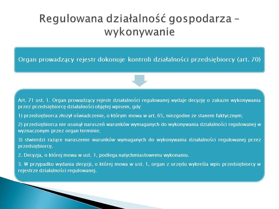 Organ prowadzący rejestr dokonuje kontroli działalności przedsiębiorcy (art. 70) Art. 71 ust. 1. Organ prowadzący rejestr działalności regulowanej wyd