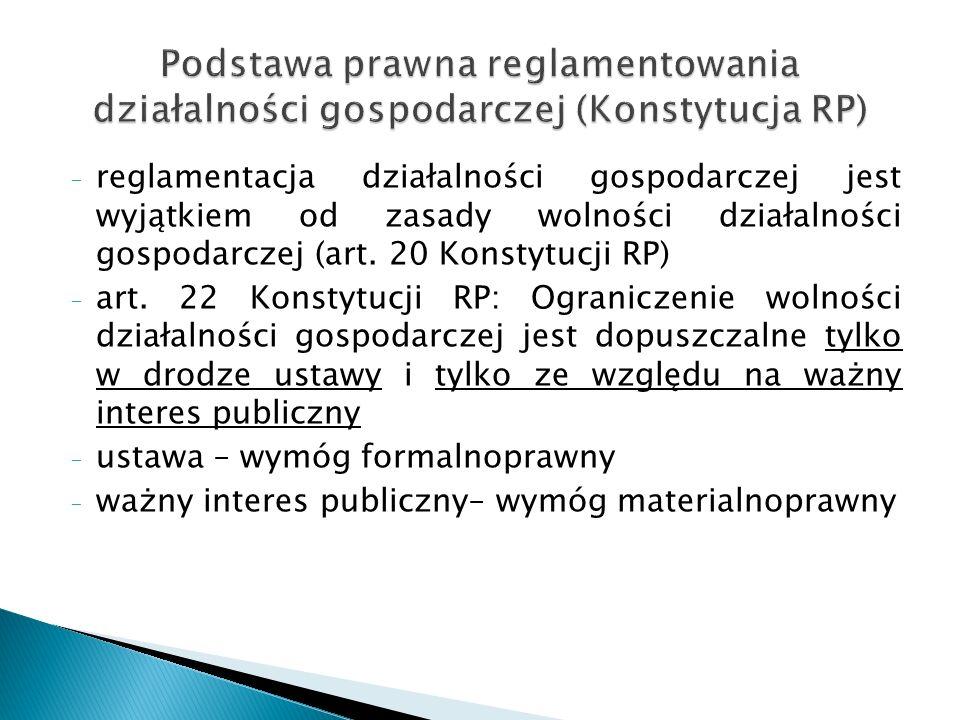 - reglamentacja działalności gospodarczej jest wyjątkiem od zasady wolności działalności gospodarczej (art. 20 Konstytucji RP) - art. 22 Konstytucji R