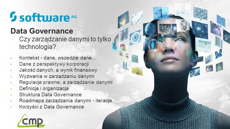 Data Governance Czy zarządzanie danymi to tylko technologia? Kontekst - dane, wszędzie dane… Dane z perspektywy korporacji Jakość danych, a wynik fina