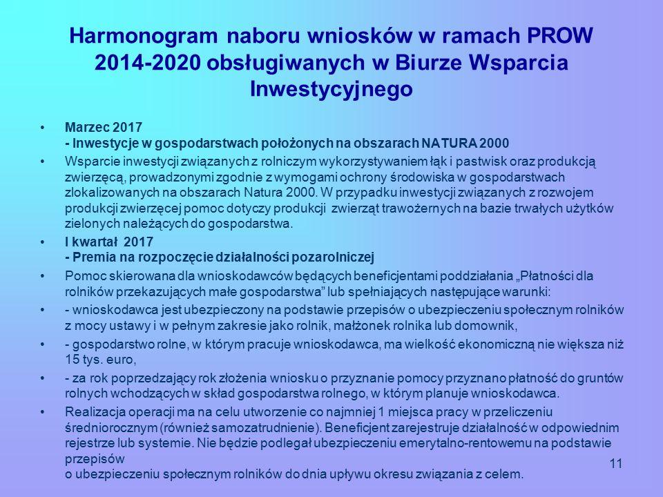 Harmonogram naboru wniosków w ramach PROW 2014-2020 obsługiwanych w Biurze Wsparcia Inwestycyjnego Marzec 2017 - Inwestycje w gospodarstwach położonych na obszarach NATURA 2000 Wsparcie inwestycji związanych z rolniczym wykorzystywaniem łąk i pastwisk oraz produkcją zwierzęcą, prowadzonymi zgodnie z wymogami ochrony środowiska w gospodarstwach zlokalizowanych na obszarach Natura 2000.